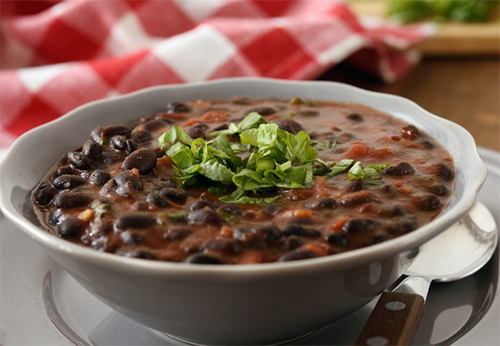 Sodium-reduced black bean soup